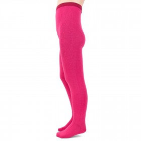 Collants enfant en laine et coton - Fushia